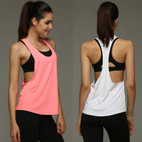 8 Summer Colors Sexy Women Tank Tops Quick Dry Gym Loose Fitness Sport Sleeveless Vest Singlet for Running Training T-shirt