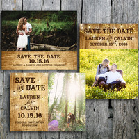 Country Wedding Save the Date with Lights and Wood