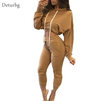 Womens Sexy Two Piece Set Jumpsuit Female Casual Long Sleeve Hooded Tied Waist Track Suits Cropped Rompers 2016 Autumn SD142