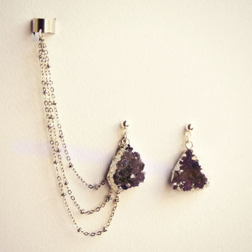 silver Amethyst ear cuff earrings, chain ear cuff, ear cuff with silver chains, asymmetrical earrings, amethyst jewelry