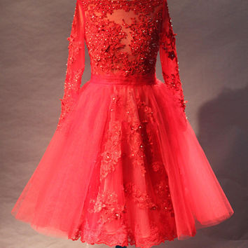Long Sleeve Red Beaded Lace Knee Length Short Cocktail Dresses Ladies Party Gowns Custom Made Size 2 4 6 8 10 12 14 16 18++ C22