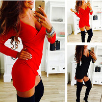 Women's Summer Dress Long Sleeve Cross Draped Ladies Night Club Bodycon Irregular Mini Dress