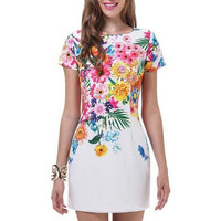 Floral Foliage Print Short Sleeve Bodycon Mini Pencil Dress