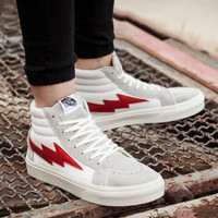 vans Lightning rice, white red, high Gang shoes