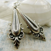 Neoclassical Silver earrings Office jewelry