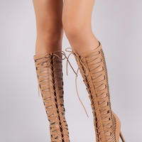 Anne Michelle Caged Lace-Up Knee High Boots