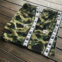 Bape Summer new fashion string mark print leisure sports women and men camouflage shorts Army green