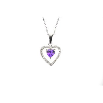 925 Sterling Silver Genuine Diamond and Amethyst Heart Pendant Necklace