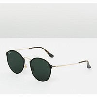 Ray-Ban RB3574N Black Retro Round Blaze Sunglasses