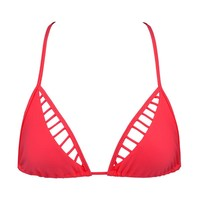 Verano de Rumba Caged Triangle Bikini Top - Bombshell Red