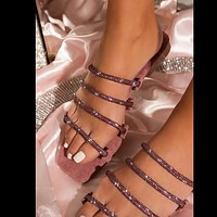 Sandals large size thin strap rhinestone sandals and slippers women flat shoes