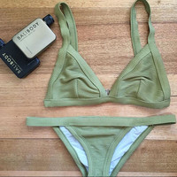 FASHION DARK GREEN CUTE TWO PIECE BIKINIS