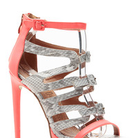 Buckled Cages Coral Reptile Contrast Heels