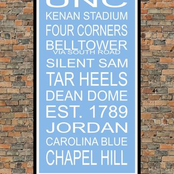 North Carolina Tar Heels Subway Sign Wall Art Print