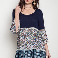 Mixed Pattern Boho Dress - Navy