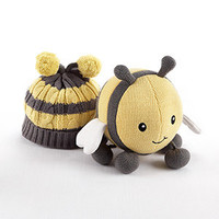 Critter Couture Caps Knit Bee Plush Toy and Knit Cap for Baby - Pre-Order Now, Ships early March