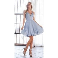 A-Line Short Dress Paris Blue Pleated Glitter Fabric Criss Cross Back