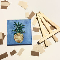Chubby Blue Pineapple - Mini Acrylic Painting w/ Stand