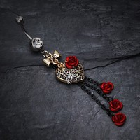 Gothic Chic Golden Heart Metal Rose Belly Ring