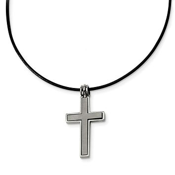 Titanium 2 Piece Cross and Black Leather Cord Necklace 18 Inch