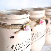 Hand Painted Taupe / Beige / Tan Mason Jars with Jute and Flowers - Set of 4