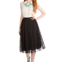 ModCloth Vintage Inspired Knee Full, Ballerina Have a Sway with Words Skirt