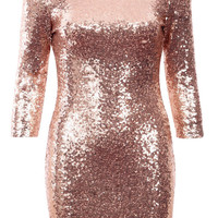 Barbara BLINQ 3/4 SLEEVE SEQUIN PARTY DRESS ROSE GOLD