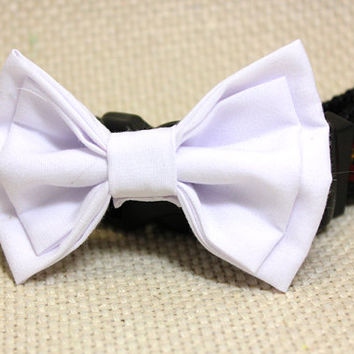 Large Double White Dog Bowtie. Special Occasion Affair Cotton Puppy Dog Bow Tie for Medium to Large Pets. Great for Ring Bearer for Wedding