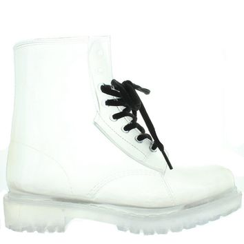 Kixters Paddock - Clear Gloss Lace Combat Rubber Rain Boot