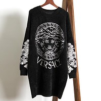 VERSACE Autumn Winter Newest Popular Women Loose Comfortable Imitated Mink Wool Long Sleeve Sweater Dress Black