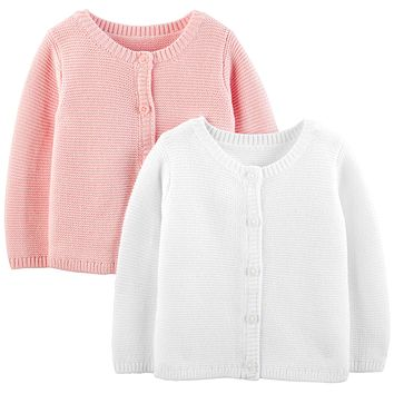 Simple Joys by Carter's Baby Girls' 2-Pack Knit Cardigan Sweaters 3-6 Months White/Pink