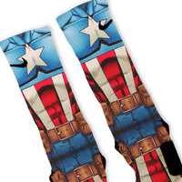Captain America Avengers Custom Nike Elite Socks