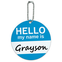 Grayson Hello My Name Is Round ID Card Luggage Tag