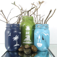 Nautical, Beach Decor - Set of Three (3), Hand Painted Mason Jars | Rustic, Distressed Home Decor