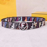 Samplefine2 FENDI Classic Woman Men Fashion Smooth Buckle Belt Leather Belt