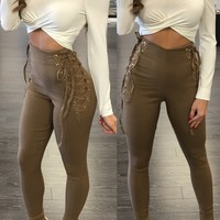 Lace-Up High Waist Fitted Pants