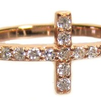 Cross Ring-Sideway Cross Ring with Clear CZ Sterling Silver Rose Gold Finish (8)