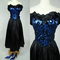 1980s Gunne Sax dress, blue metallic strapless velvet embossed fit and flare satin formal event prom dress, Small, size 6