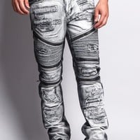 Biker Distressed Washed Slim Jeans