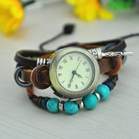 Vintage Style Leather Belt Watch with Turquoise Beads 01