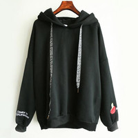 Hoodie with Hood Kawaii Cashmere  Hoodies Cute Pattern Embroidered Letter Drawstring Harajuku Street Thick Sweet Pullovers