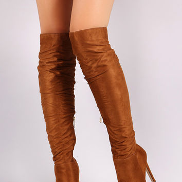 "Liliana Slouchy Knee High Platform Stiletto Boots Over-The-Knee Boots Heel Height: 5""with .5"" platform Shaft Length: 23.5"" (including heel) Top Opening Circumference: 14"" Taupe & Tan & Black"
