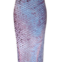 Scales Printed Pencil Midi Skirt
