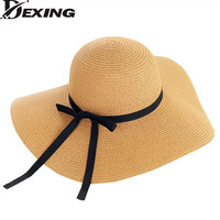 [Dexing]Fashion Ribbo Bach Straw summer Hats For