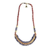 Hmong Fabric/Chain Necklace