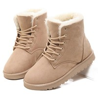 Winter Boots New Arrival Warm Snow Boots 2018 Fashion Women Ankle Boots Plush Insole Women Boots Suede Lace Up Women Shoes