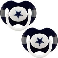 Dallas Cowboys Navy Blue-Silver Striped 2-Pack Team Logo Pacifiers