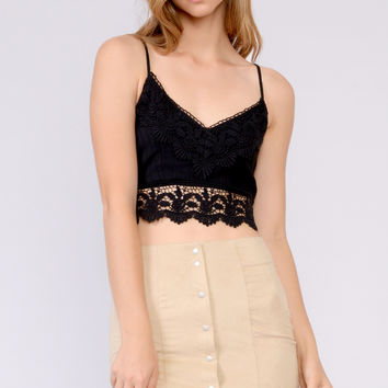 Black Crochet Accent Crop Top