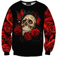 Harajuku 2015 New Arrivals Autumn Winter Women/Men Skull Red Rose Print Hoodies Pullovers Casual Sweatshirts WomenSuits