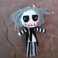 Beetlejuice Tim Burton Doll Of String Voodoo Gothic Funny Keyring Keychain Funky Ring Key Chain Bag Car Phone Decor House Men Accessories